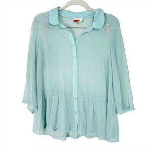 Modcloth Fervour Sheer Blouse Size L Aqua Blue